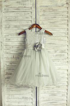Silver Sequin Gray Tulle Flower Girl Dress Curly Hem di misdress, $52.99