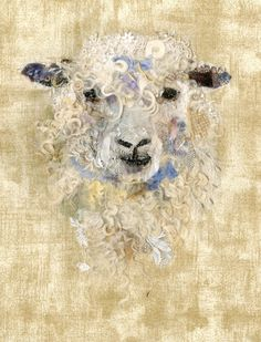 Sheep - Art In Textiles by Barbara Shaw Sheep Drawing, Sheep Face, Sheep Cards, Watercolor Quilt, Textiles, Felt Pictures, Button Art, Textile Artists, Felt Art