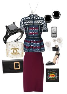 """Movie Premiere"" by cassandra23williams on Polyvore featuring self-portrait, Christian Louboutin, Givenchy, Chan Luu, West Coast Jewelry, Chanel, Bally and Gucci"