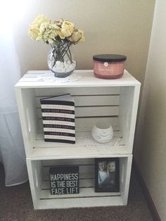 Wood crate nightstand, country style, white washed, end tables, College dorm room end tables - Wood Crates Shipping Crate Nightstand, Nightstand Ideas, Rustic Nightstand, Nightstands, Bedside Table Ideas Diy, Rustic Bed, Diy Bett, Wood Crates, Wood Crate Diy
