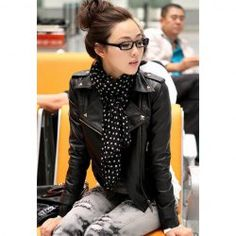 Can't get enough of these jackets! $12.88 Slimming Solid Color Long Sleeve Studded PU Leather Women's Jacket