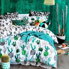 I Freaking love this bedspread Home Republic Design Series Cactus Quilt Cover Set, quilt covers, quilt cover sets -- Designed by Rebecca Jones My New Room, My Room, Girl Room, Home Republic, Design Living Room, Cactus Decor, Cactus Cactus, Prickly Cactus, Cactus Jack