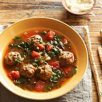 Porcini Meatball Soup with Swiss Chard Ribbons Recipe  Will nix dried mushroom sauce and just throw in some fresh mushrooms into the pot instead.