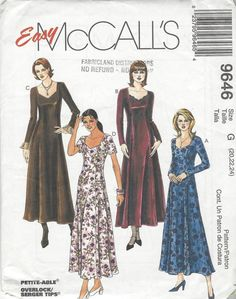 Easy McCalls 9646 Misses Dress sewing pattern  1998  UNCUT  Size G (20, 22, 24)…