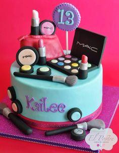Cake 13 Birthday Cake, 13th Birthday Cake For Girls, Teen Cakes, Girl Cakes, Cupcake Cakes, Cupcakes Fondant, Makeup Cakes, Mac Makeup, Makeup Geek