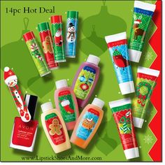 Bubble bath minis, hand cream minis, & lip balms! Hot Deal 14pc for only $12.99 Item# 300134. Perfect little stocking stuffers or for a gift basket of minis! 1 Holly Jolly Mini Emery Board, 1 Nailwear Pro+ Nail Enamel, 4 Holly Jolly Lip Balms, 4 Holiday Bubble Bath Minis, & 4 Holiday Hand Creams  -  a $18.00 value!