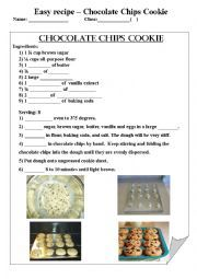 English worksheet: Chocolate chips cookie recipe