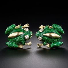 Green Enamel Frog Cufflinks - This is absolutely for you, my love!