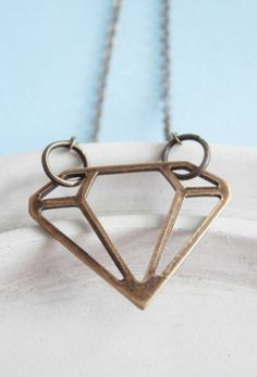 Diamond Necklace  Brass Necklace  3D Geometric