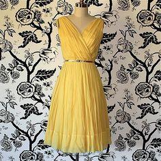 YELLOW silk CHIFFON grecian VINTAGE dress. $148.00, via Etsy.