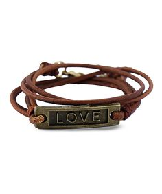 Love this Henri Lou Brown & Brass 'Love' Leather Wrap Bracelet by Henri Lou on #zulily! #zulilyfinds