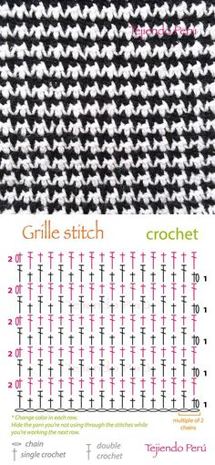 Crochet: grille stitch or pied de poule diagram (pattern or chart)! ciekawy na szal Crochet grille stitch diagram that has a kinda sorta jacquard'y look to it. I may be reading it wrong but looks like you just keep reversing how two basic stitches sit ove Crochet Diy, Bonnet Crochet, Crochet Stitches Free, Crochet Motifs, Crochet Diagram, Crochet Chart, Love Crochet, Diagram Chart, Stitch Crochet