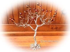 Wire Sculptured Tree with Brown Seed Bead leaves and Brown Acrylic Round Stones