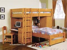 Kids Bedroom:Contemporary Loft Bunk Beds With Wooden Bunk Beds Design For Kids Beds To Inspire Your Kids Rooms Also Wooden Stairs And Storage Sets Also Computer On Side Of Bunk Beds Plus Wooden Kids Chairs 100 Ideas of Fashionable and Attractive Kids Beds Queen Size Bunk Beds, White Bunk Beds, Loft Bunk Beds, Wooden Bunk Beds, Kids Bunk Beds, Wooden Stairs, Junior Loft Beds, Space Saving Bedroom, Bunk Bed With Desk