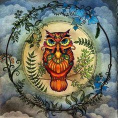/ Coruja / Color: ¿?. Tinta: Johanna Basford. Título: [es] El bosque encantado / [en] The Enchanted Forest / [fr] Forêt enchantée / [de] Mein Zauberwald / [pt] Floresta Encantada