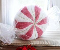 Soft Peppermint Pillow: This soft pillow of iridescent sheer fabric makes a great addition to any holiday room.