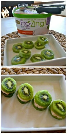 Kiwi and Frozen Yogurt Sandwiches