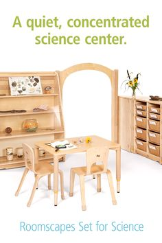 This combination of storage and display with a small, strong table sets the stage for an inviting nature or science or discovery center. The display shelf features a clear panel over the top three levels so you can display some items for eyes-only, and provide other materials for hands-on exploration in the tote shelf near by. (Sorry, the butterfly board is not included) Tap through for options and details, and to find more preschool science and discovery area ideas! Preschool Science, Preschool Classroom, Science Art, Art Classroom, Learning Centers, Early Learning, Sensory Table, Classroom Community, Classroom Setting