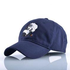 Panda Embroidered Curved Brim Baseball Cap Navy Blue Dad Hat