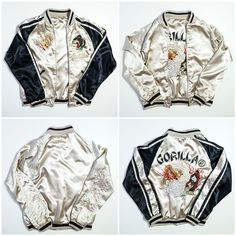 Vintage Japanese Gorilla Ryu Dragon Yakuza Punk Yanki Roaring Tiger Souvenir Sukajan Jacket - Japan Lover Me Store