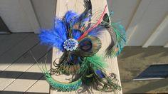 HOLLOWEEN ACCESSORY Peacock Feather Hair Clip Rhinestones | eBay