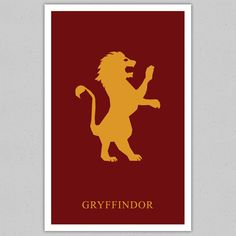 Harry Potter Minimalistic Poster: Hogwarts House  Gryffindor  11x17  Art Print. $17.00, via Etsy.