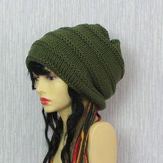 Dreadlock Accessories Hand Knit Green Dreads Hat by AlbadoFashion