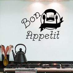 Wall Decals Kitchen Bon Appetit Sign Decal Spoon Fork Hat Vinyl Sticker MA188