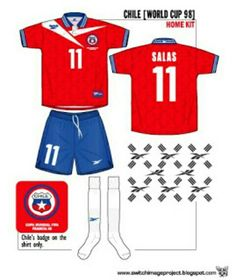 Chile home kit for the 1998 World Cup Finals.