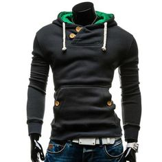2016 New Arrival Spring Autumn High Fashion Men's Casual Hip Hop Long Sleeved Slim Solid Pullover Hoodie Sweatshirt Black/Gray Mode Masculine, Hoodie Sweatshirts, Costume Slim, Pull Sweat, Style Casual, Sweat Shirt, Pulls, Mens Fashion, Fashion Brand