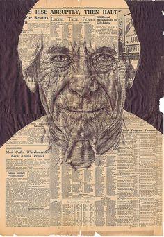 Biro portrait on newspaper