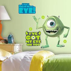 Disney Monsters Inc. Mike Wazowski Giant Peel And Stick Wall Decals Multi Disney Pixar, Disney Monsters, Little Monsters, Disney Theme, Monsters Inc Room, Mike From Monsters Inc, Sully And Boo, Reusable Wall Stickers, Roommate Decor