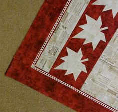 Canada 15- quilt :  love that tiny maple leaf border from a border print!  Quilt pattern available free for a limited time at www.payhip.com/canuckquilterdesigns