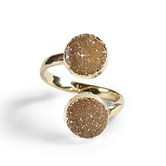 """Falling Star Ring - Twice the shimmer. Twin natural druzy crystal stones are swathed in gleaming metallic gold tone, Wraparound design fits all, 2.25""""L. Handcrafted in Thailand. (The natural druzy crystal may have slight color variances.) https://www.morinda.com/3764125/en-us/shop/3795999#"""