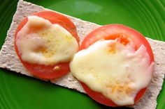 tomato & cheese Wasa cracker snack - throw in the toaster oven instead of the microwave if there's time