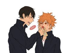 Haikyuu!! ~~ Kageyama ends up being Hinata's mom at times. I'm not sure that he minds, though.