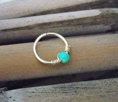 Gold Cartilage Earring tiny opal hoop sterling by sofisjewelryshop