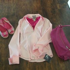 Bundled Light pink, tailored, slightly longer in back than in front, stretchy cotton and zips in front, and at sleeves. Very flattering. Axcess Jackets & Coats