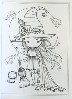 Whimsical Halloween Coloring Book: Witches, Vampires Kitties and . Witch Coloring Pages, Halloween Coloring Pages, Coloring Pages For Girls, Doodle Coloring, Free Coloring Pages, Coloring For Kids, Printable Coloring Pages, Coloring Books, Desenhos Halloween