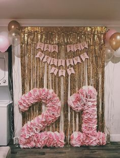 DIY tissue paper numbers! White and pink tissue hot glued to card board cutouts. Perfect for a birthday backdrop or photo booth prop!