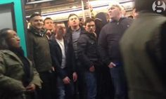 know these? Still from the Guardian video that shows Chelsea fans preventing a black man from boarding a metro train in Paris