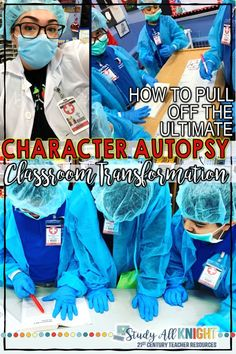 Pull off the Ultimate Character Autopsy Classroom Transformation For Any Text Characterization can be hard to dissect, unless you turn your class into a group of surgeons. Your students can dissect characters using body biographies! Ela Classroom, Middle School Classroom, English Classroom, Classroom Ideas, Fun Classroom Activities, Teaching Themes, Leadership Activities, English Teachers, Group Activities