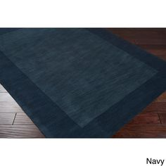 Navy / Hand Loomed Odele Solid Bordered Tone-On-Tone Wool Area Rug (8' x 11') - Overstock™ Shopping - Great Deals on 7x9 - 10x14 Rugs