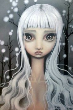 Angelina Wrona - Need this one! Decoupage, Mermaid Pictures, Samurai Art, Goth Art, Pop Surrealism, Whimsical Art, Big Eyes, Face Art, Art Images