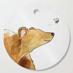 Bear & Bee Watercolor Cutting Board Bear Watercolor, Watercolor Postcard, Watercolor Animals, Watercolor Paintings, Watercolours, Easy Canvas Painting, Baby Painting, Bee Illustration, Illustrations