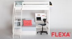 See our large selection of high bed desks here. At Flexa, we make designs at a child's height, focusing on safety and quality Teenage Girl Bedroom Decor, Trendy Bedroom, Girls Bedroom, Dream Rooms, Dream Bedroom, Cool Bunk Beds, Teen Bedding, Cute Room Decor, Home Room Design