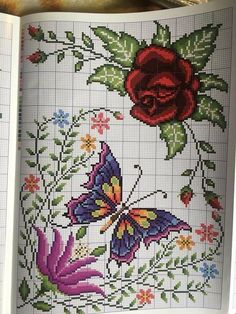 Crochet Butterfly Pattern, Butterfly Cross Stitch, Cross Stitch Flowers, Sewing Clothes, Cross Stitch Embroidery, Diy And Crafts, Cross Stitch Rose, Embroidered Cushions, Hand Embroidery Stitches