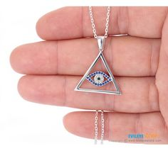 All Seeing Eye Necklace. This third eye pendant necklace made of sterling silver with cz stones evil eye. This all seeing eye necklace is a talisman for protect the owner from bad luck. All Seeing Eye, Evil Eye Necklace, Third Eye, Chakra, Pendant Necklace, Sterling Silver, Eyes, Stone, Gifts
