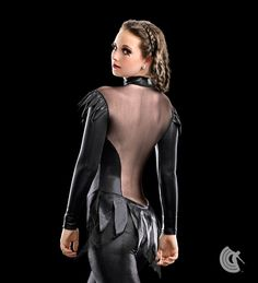 Curtain Call Costumes® - On Fire Black foil dot nylon/spandex and mesh long sleeved jumpsuit with zipper front and attached foil dot and glitter tulle back skirt. https://curtaincallcostumes.com/products/product-page-t.php?prodid=7620