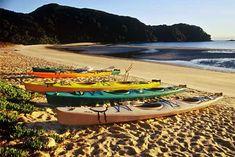 Kayaks on the beach above high tide, at sunrise, Bark Bay, Abel Tasman National Park. Photo: Andy Dennis.
